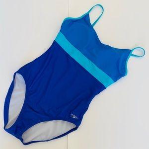 Speedo Blue Colorblock One Piece Swimsuit 12